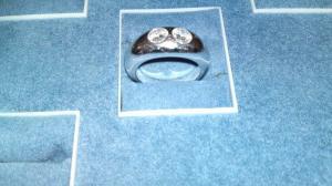 Anello con 2 diamanti in oro bianco